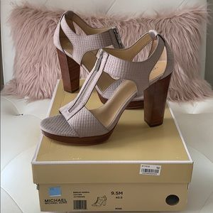 NWT Michael Kors Mink Berkley Leather Sandal Heels